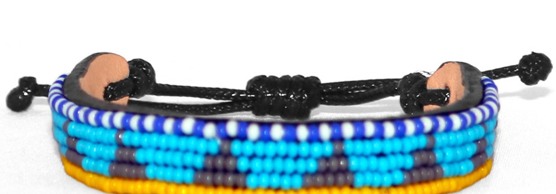 5 row Piramidi Bracelet Lt.Blue/Grey