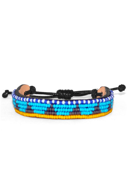 5 row Piramidi Bracelet Lt.Blue/Grey