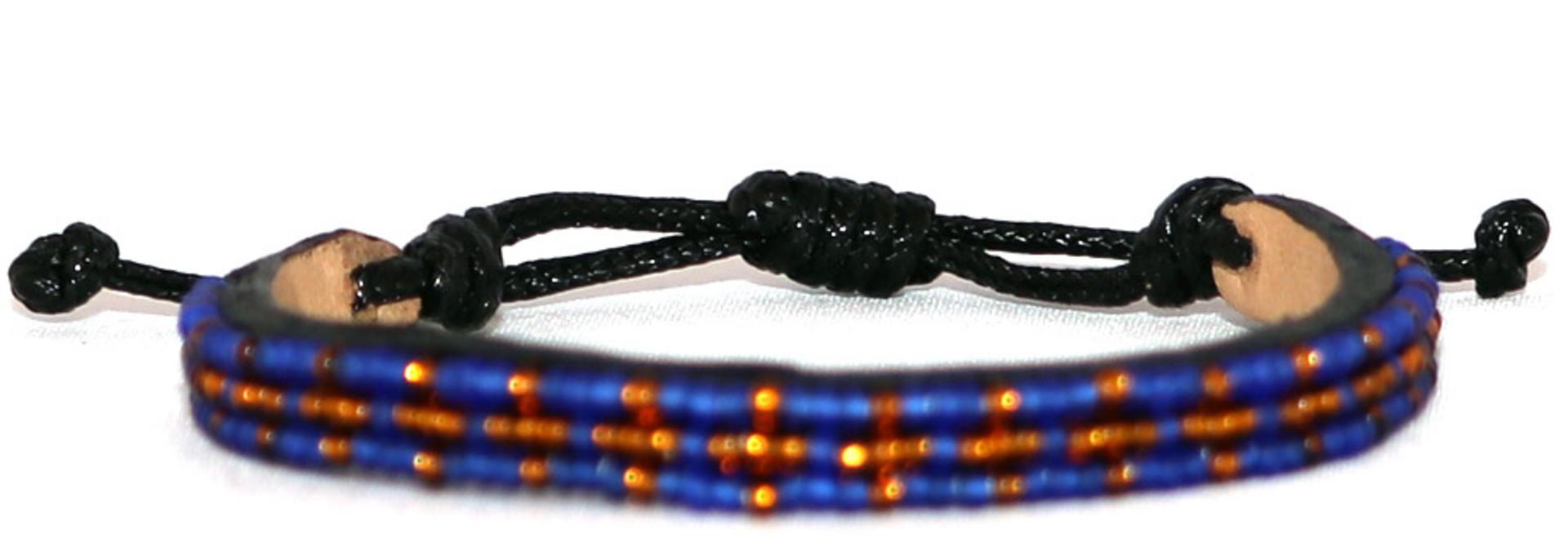 3 row Msalaba Bracelet Blue/Bronze