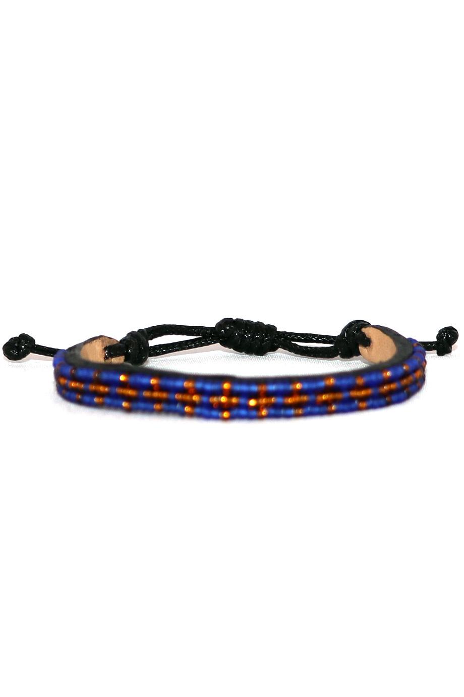 3 row Msalaba Bracelet Blue/Bronze-1