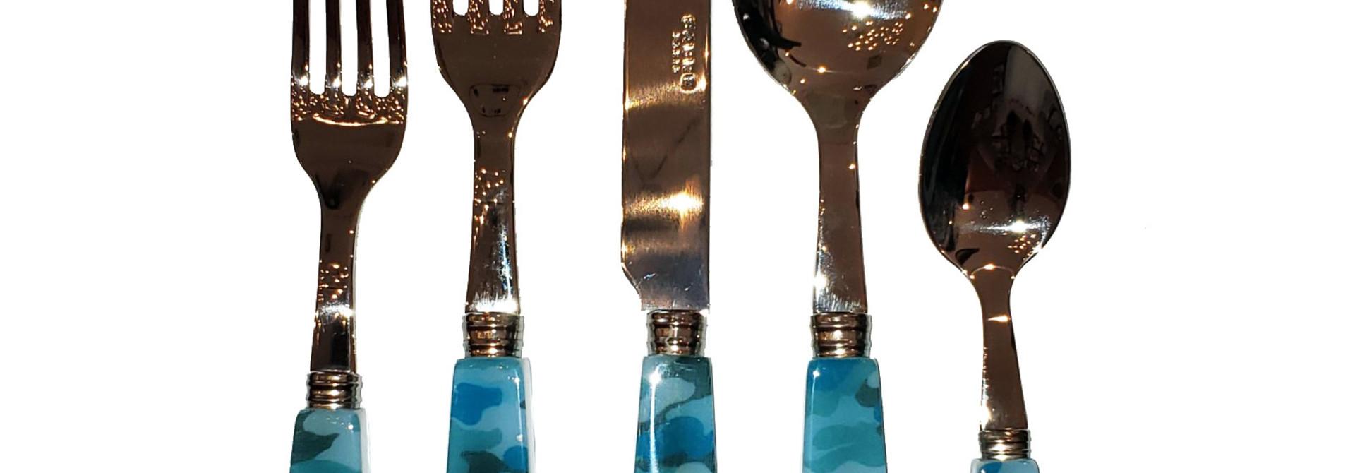 Camo 5 Pc Setting - Turquoise - Set of 6