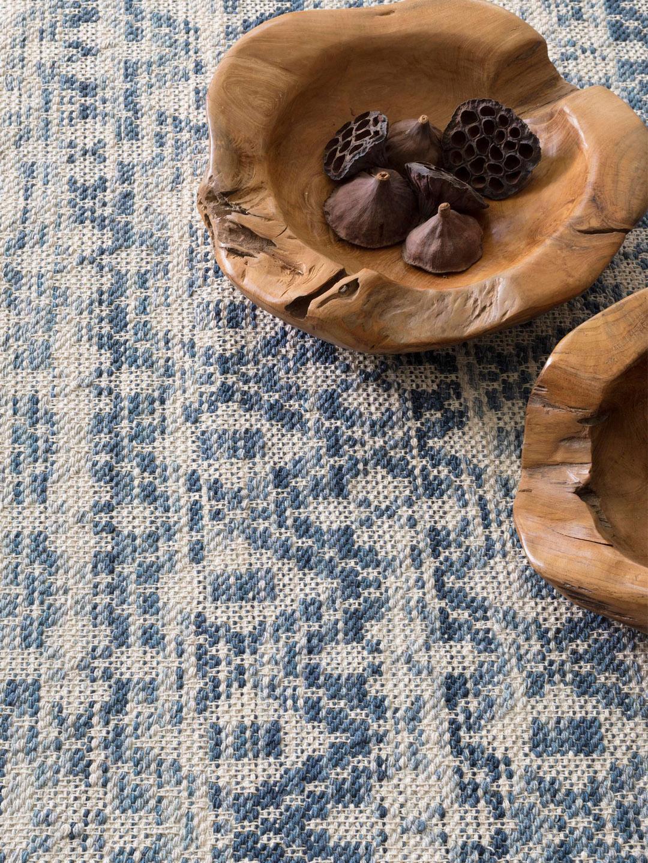 Ombre Diamond Blue Woven Cotton Rug-2