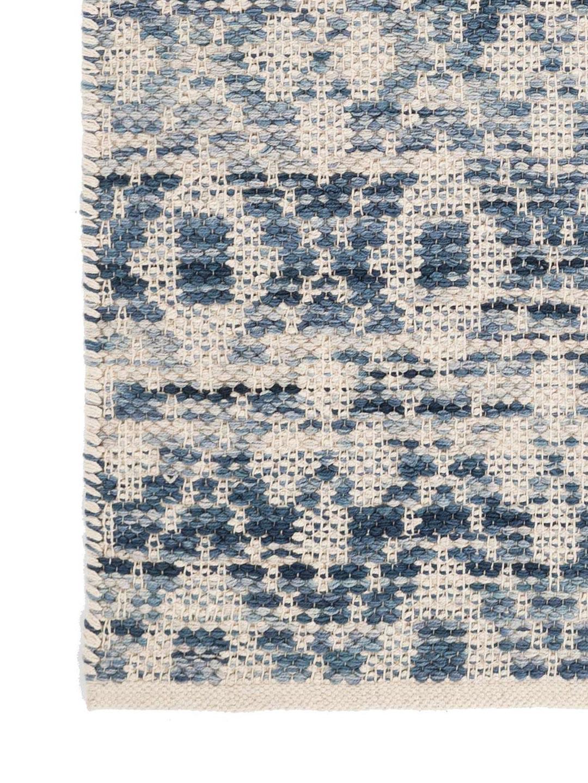Ombre Diamond Blue Woven Cotton Rug-3