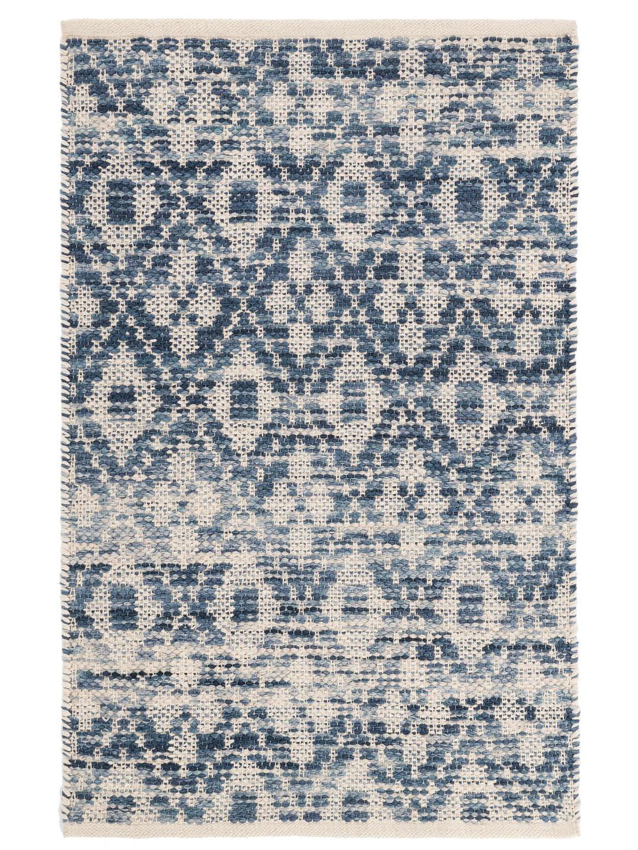 Ombre Diamond Blue Woven Cotton Rug-1