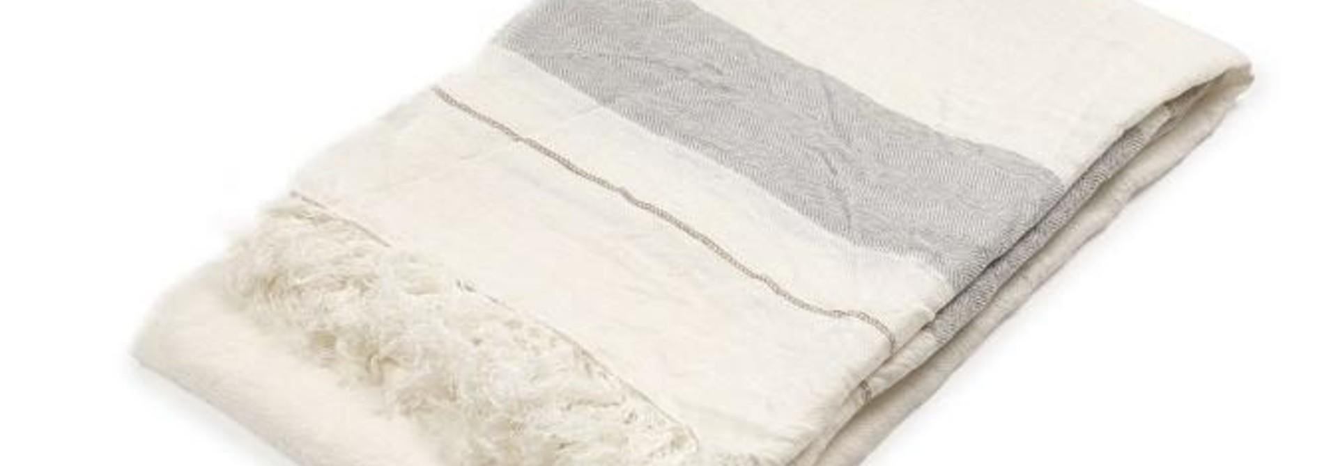 Bath Towel Fouta - Oyster Stripe