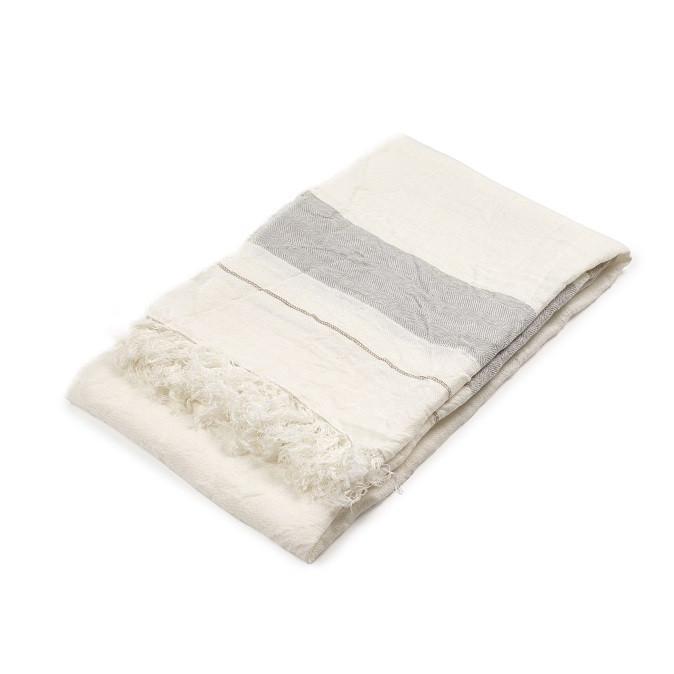 Bath Towel Fouta - Oyster Stripe-1