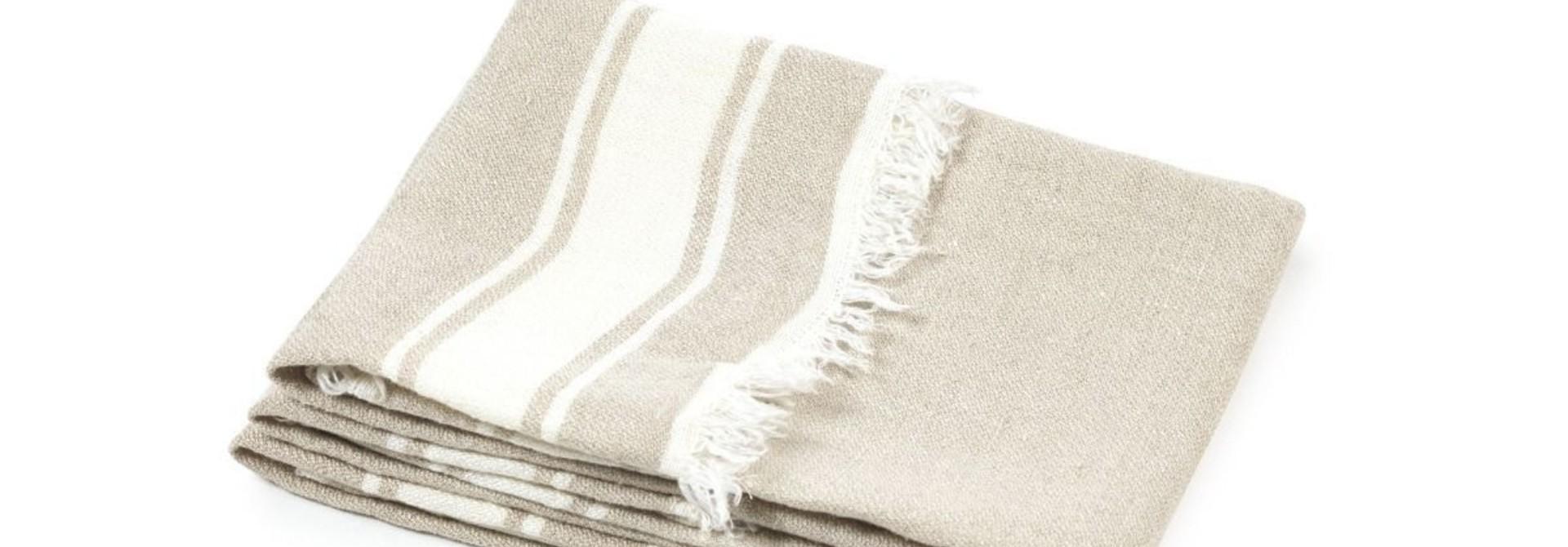 Bath Towel Fouta - Flax Stripe