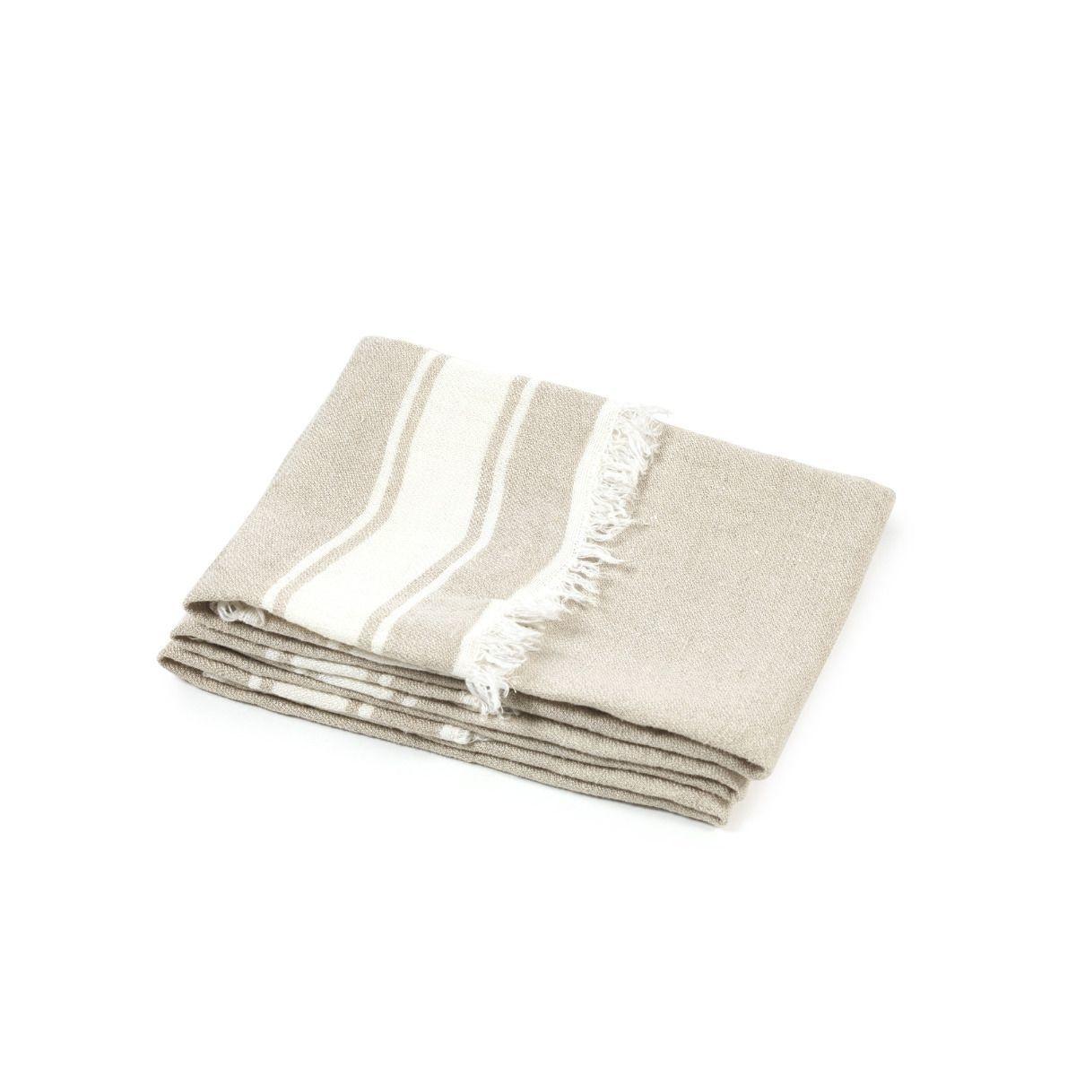 Bath Towel Fouta - Flax Stripe-1