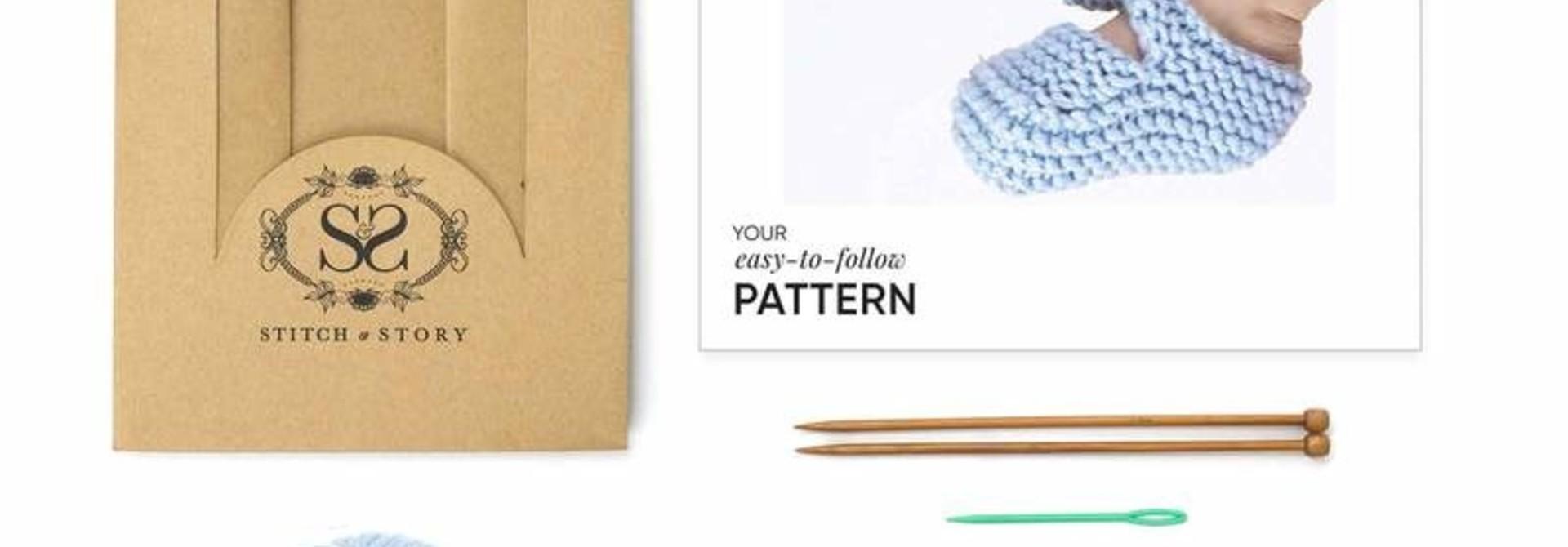 Booties Knitting Kit - Blue