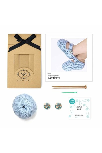 Booties Knitting Kit - Blue