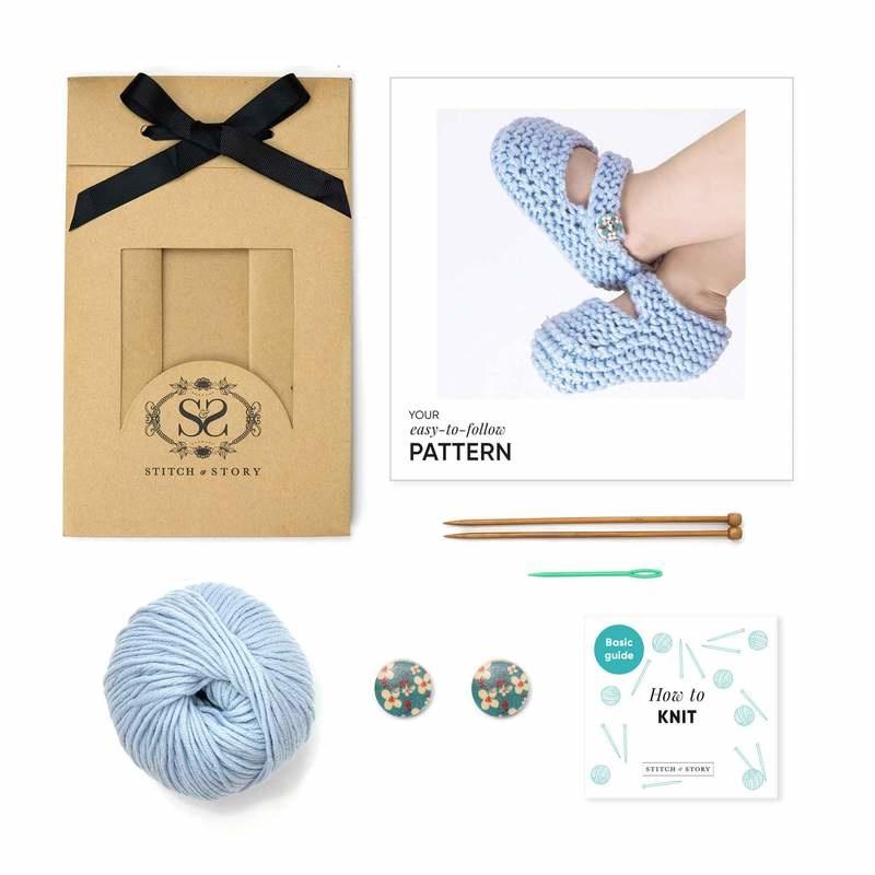 Booties Knitting Kit - Blue-1
