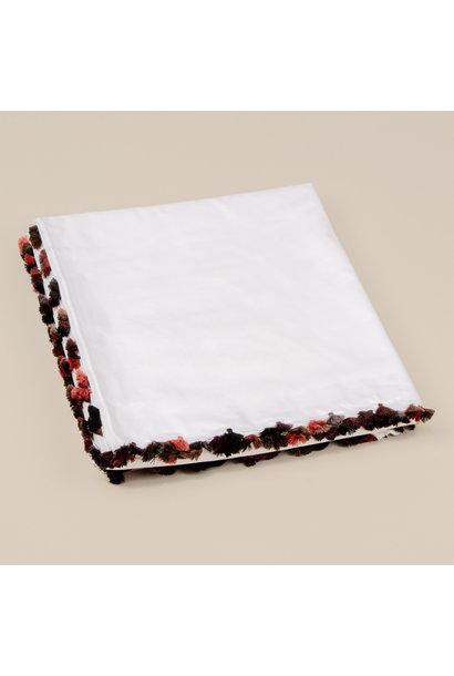 Duvet Cover King - White w/fringe - Yamskaia