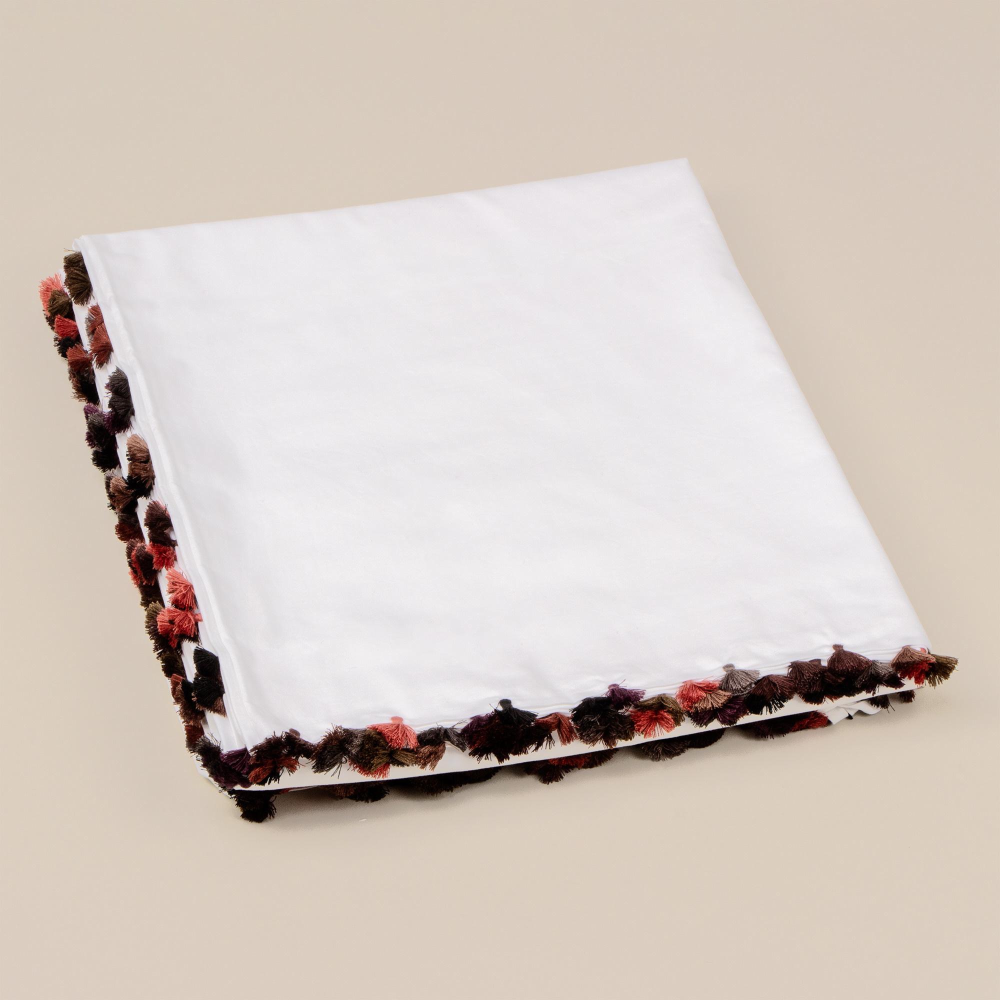 Duvet Cover King - White w/fringe - Yamskaia-1
