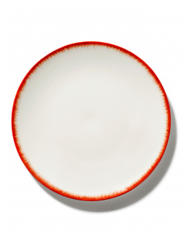 Plate - Off wh. w/red - B4019330 - Var. 2-1