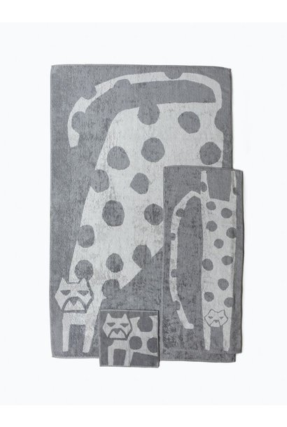 Hand Towel - Cat - grey/lt grey