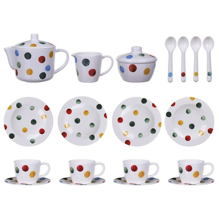 Kid's Polka Dot Melamine Tea Set-2
