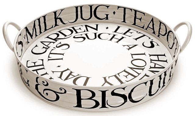 Large Tin Tray w/handles - Black Toast-1