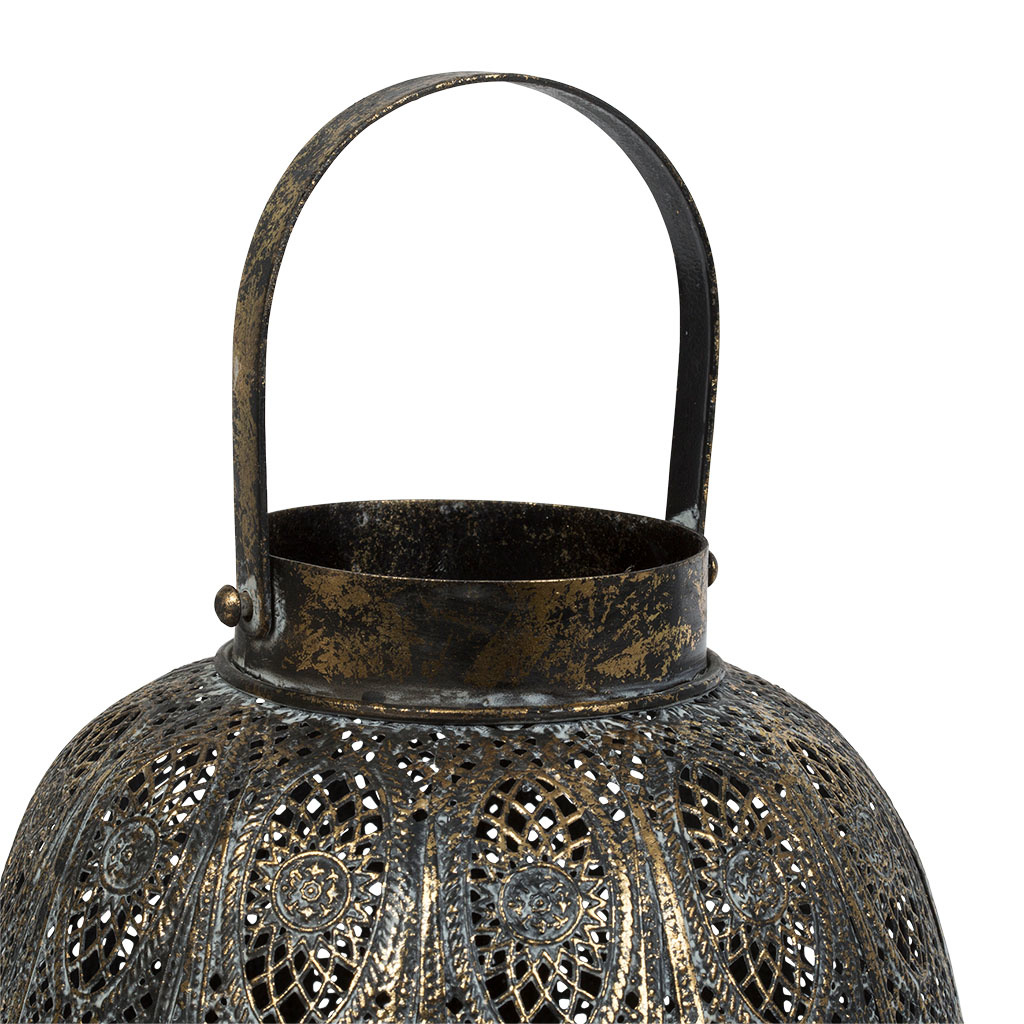 Lantern - Ornamental - Blk/Gold - Lge-2