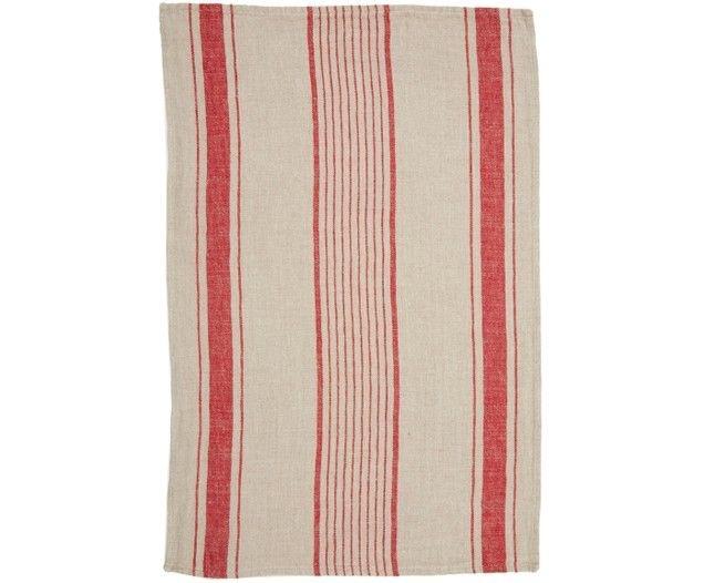 Tea Towel - Aubagne - Nat/Red-2