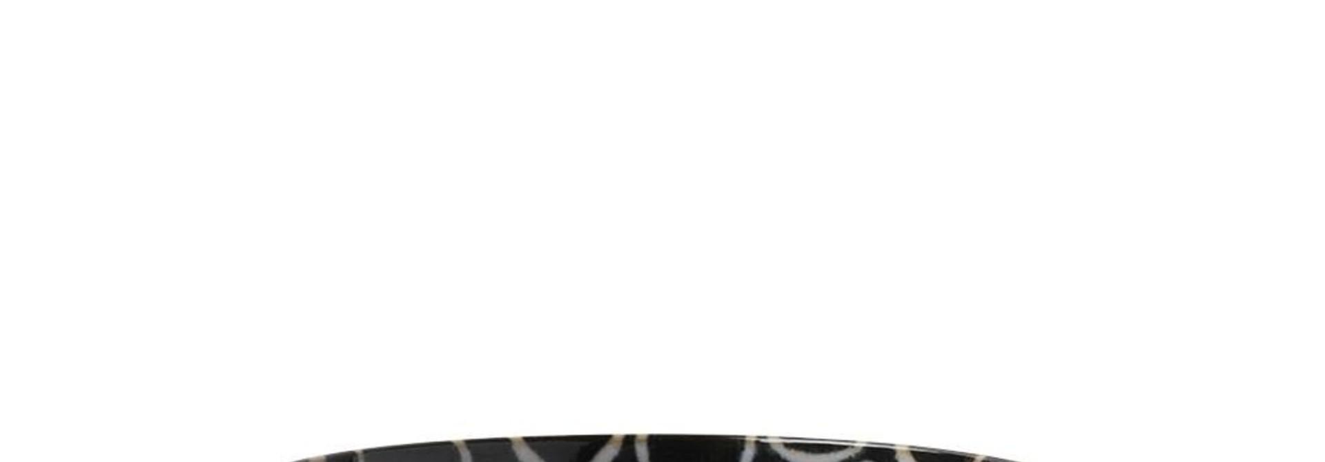 Shallow Bowl - Rustic White Circles