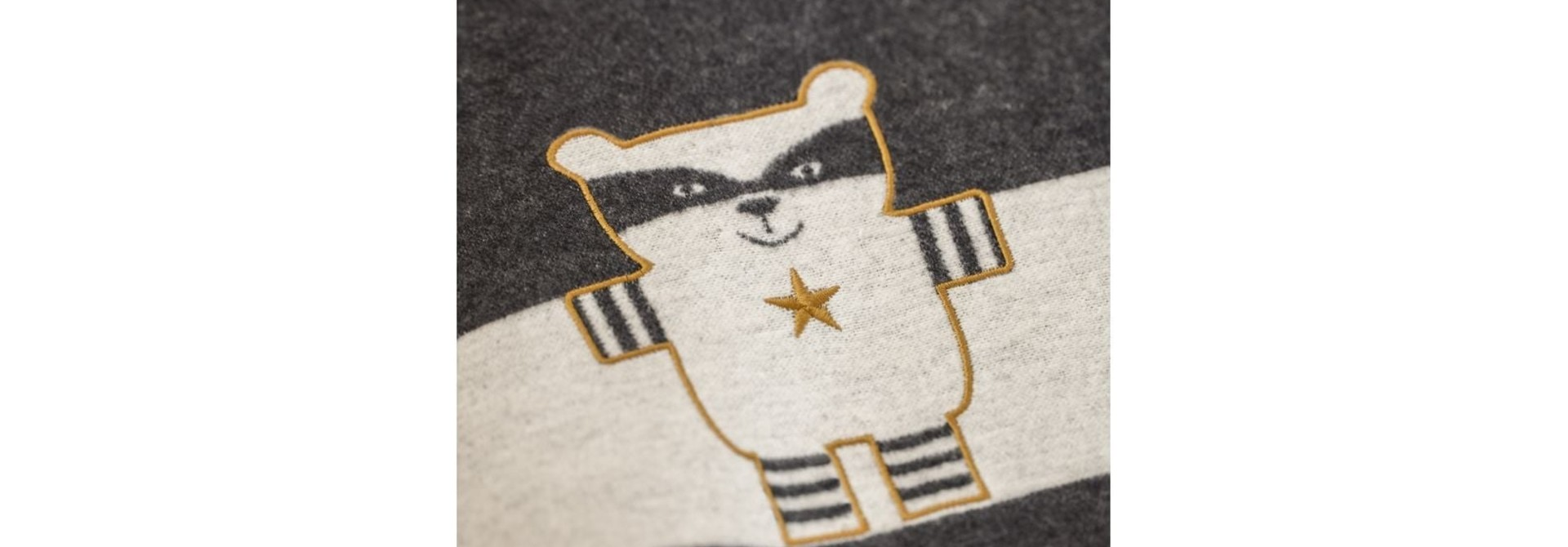 Blanket - Racoon - Charcoal Stripe