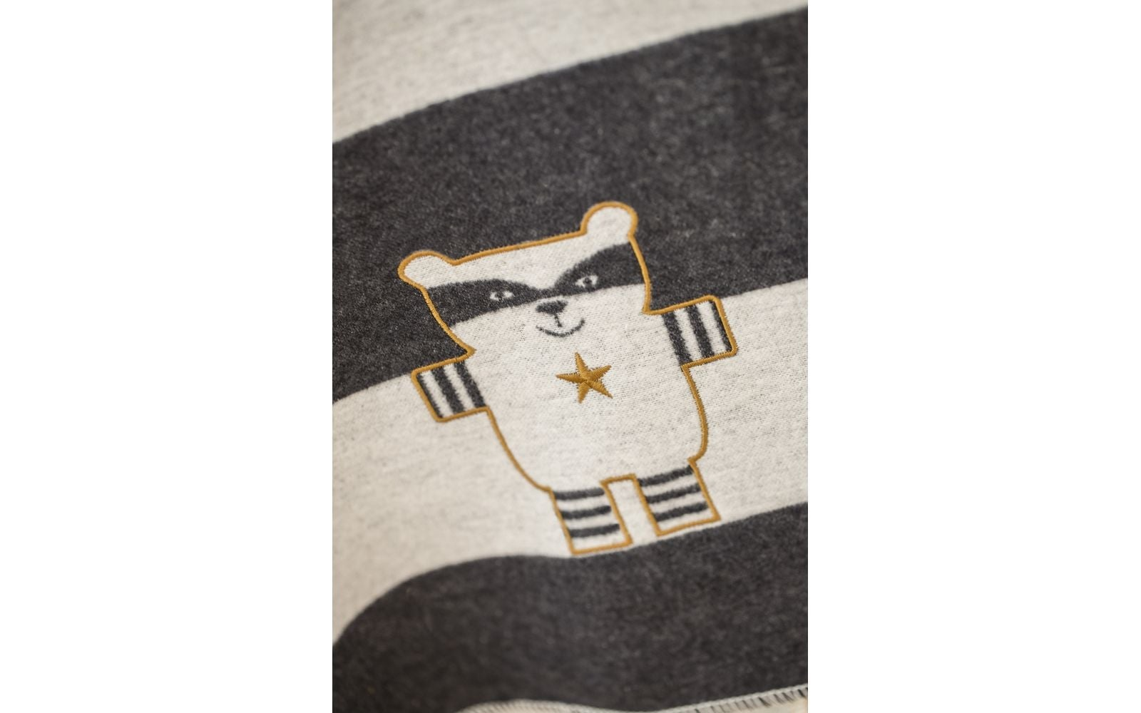 Blanket - Racoon - Charcoal Stripe-1