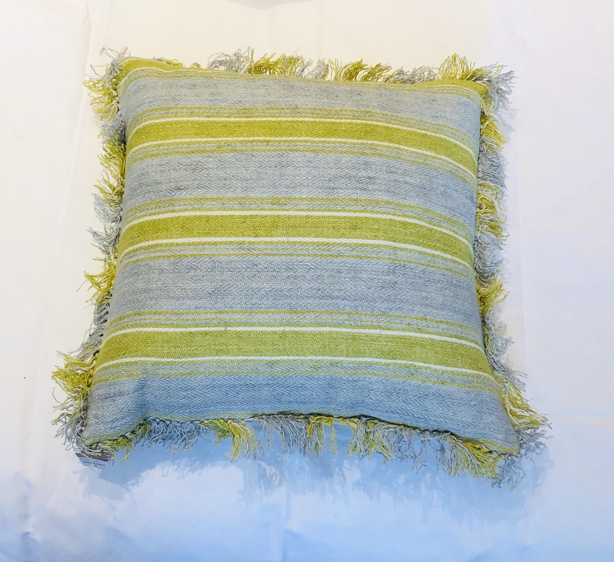 Cushion - Ticking - Blue/Green-1
