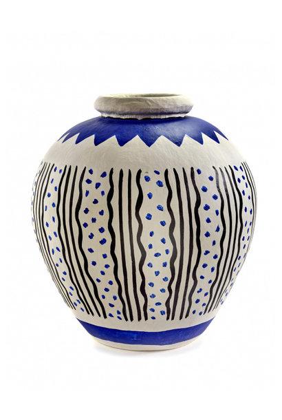 Vase - Borchgrave - Paper Mache  - Gry/Blu
