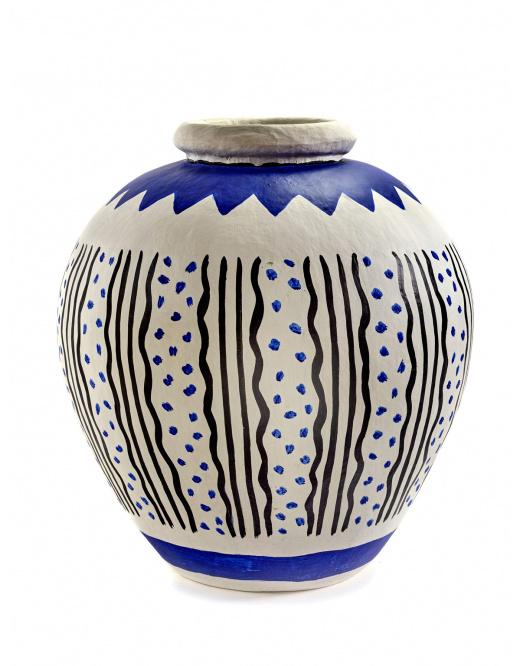 Vase - Borchgrave - Paper Mache  - Gry/Blu-1