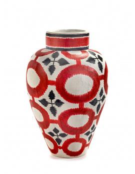 Vase - Borchgrave - Paper Mache - Red-1