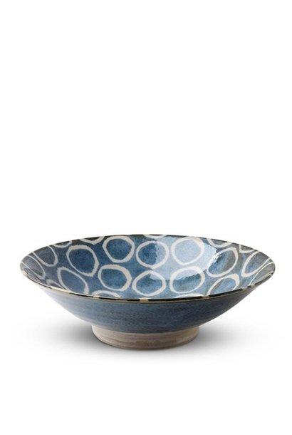 Rustic White Circles  - Serving Bowl