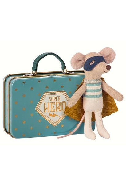 Superhero Mouse - Little Brother in Suitcase - Blue