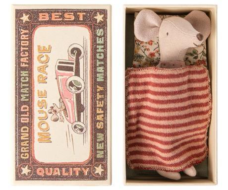Maileg Big Sister Mouse/Matchbox - stripe rust-1