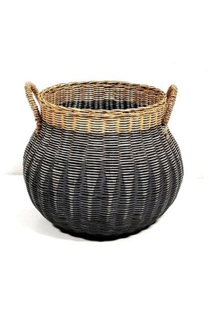 Vintage Globular Basket Straw Handles