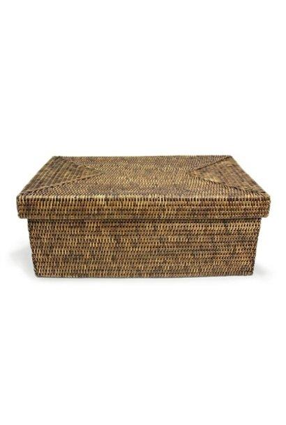 Rectangular Storage Basket with Lid - Lg