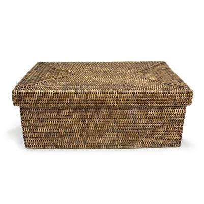 Rectangular Storage Basket with Lid - Lg-1