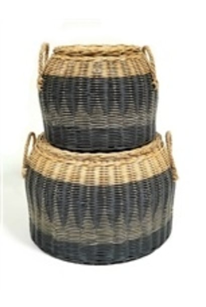Lidded Round Basket - Straw Handles - Lg