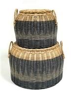 Lidded Round Basket - Straw Handles - Lg-1