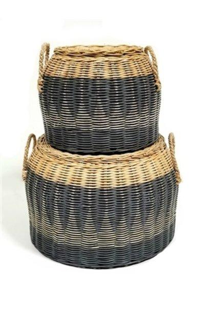 Lidded Round Basket - Straw Handles - Med