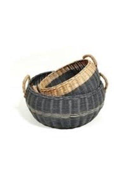 Round Basket Straw Handles - Lge