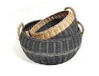 Round Basket Straw Handles - Lge-1