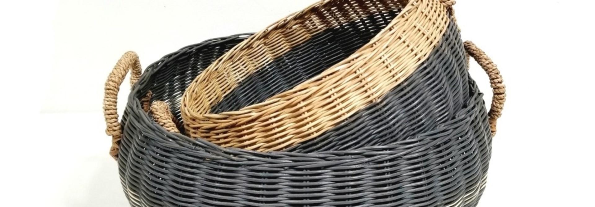 Round Basket Straw Handles - Med