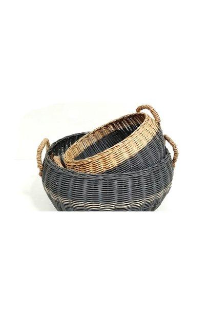 Round Basket Straw Handles - Med.