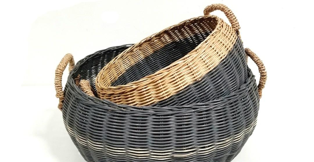 Round Basket Straw Handles - Med-1