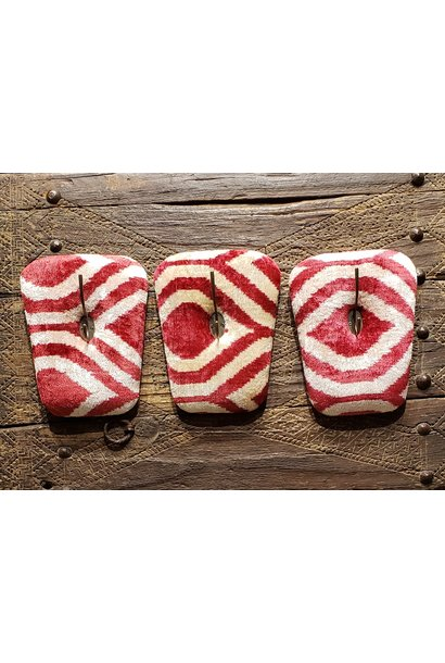 Red Silk Velvet Coat Hook - Set of 3