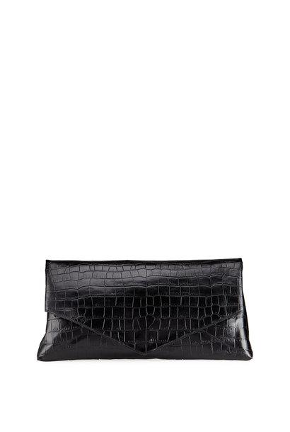 Crocodile Embossed Clutch - Black