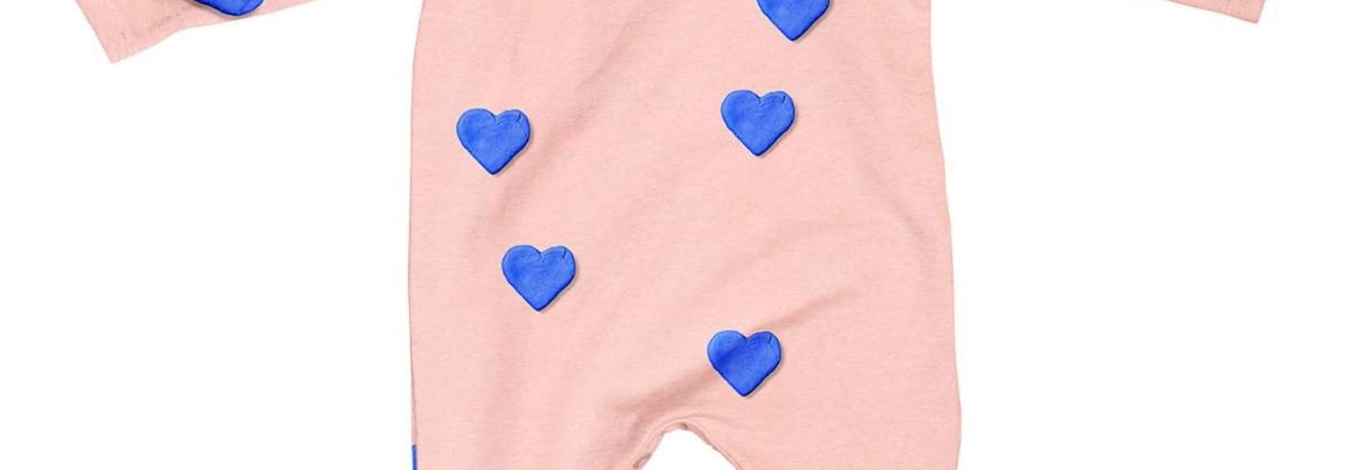 Jumpsuit - Hearts- Sz 4/6 mo.