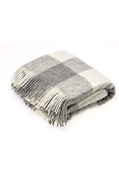 Picnic Throw - Block check - Grey/Cream