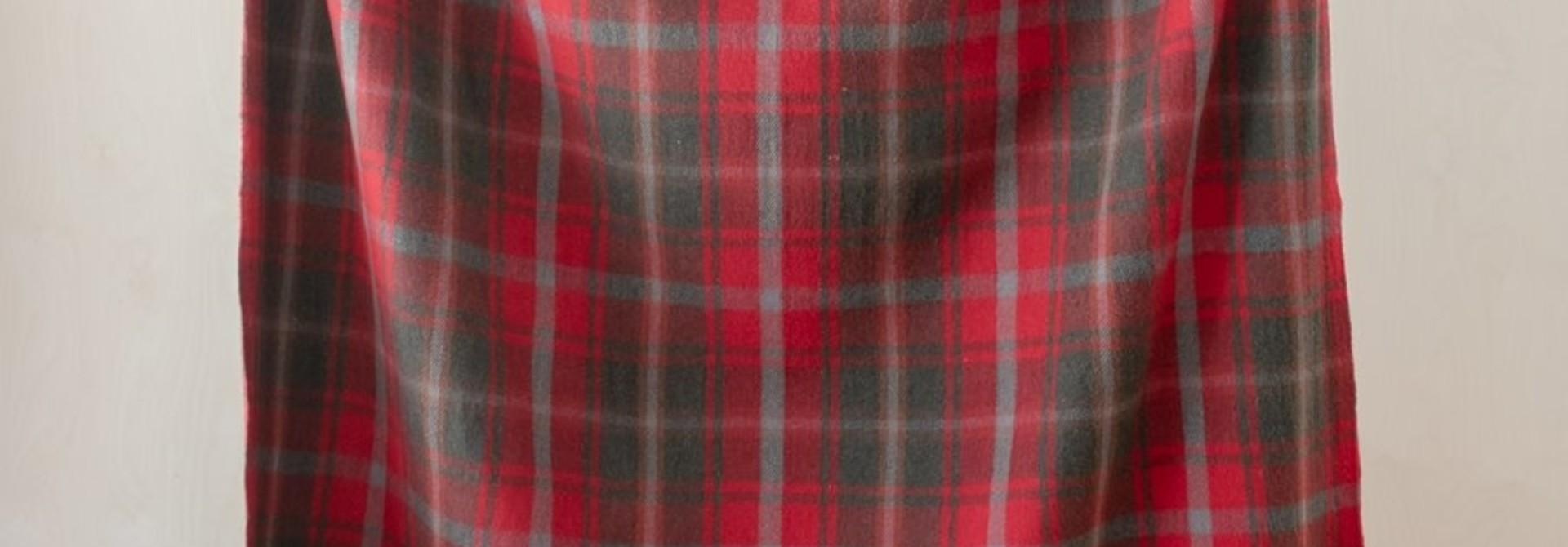 Recycled Wool Blanket - Dark Maple Tartan