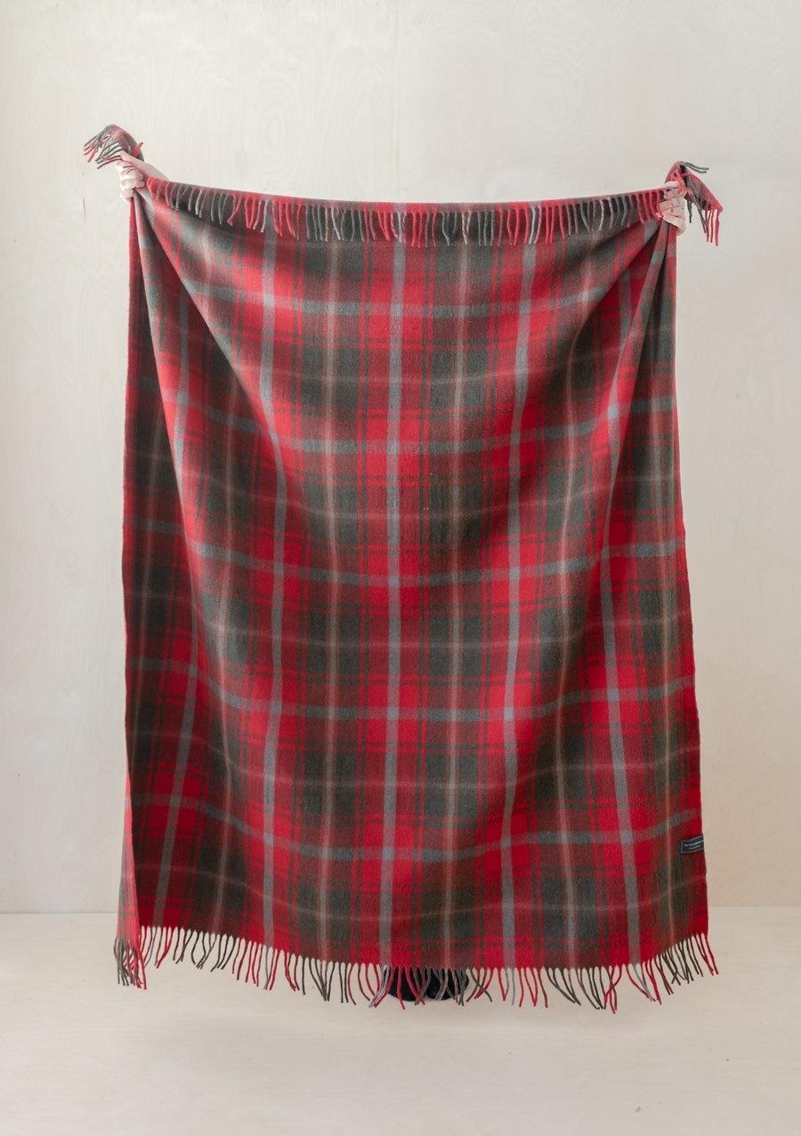 Recycled Wool Blanket - Dark Maple Tartan-1